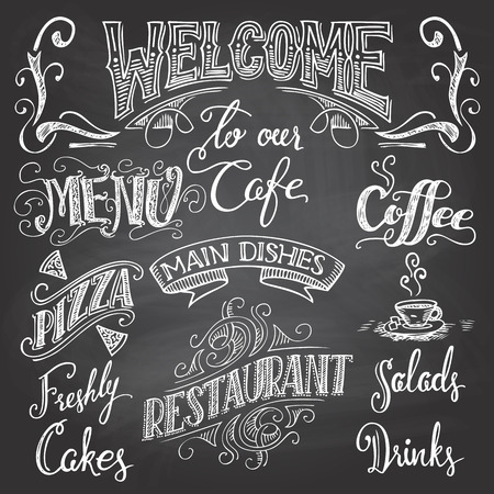 chalkboard drawings: Set of handdrawn lettering for cafes and restaurants on the chalkboard background