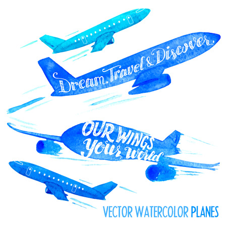 airplane wing: Set of vector watercolor planes with handlettering slogans