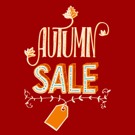 etiqueta: Autumn sale illustration. Hand-lettering poster for advertising sales