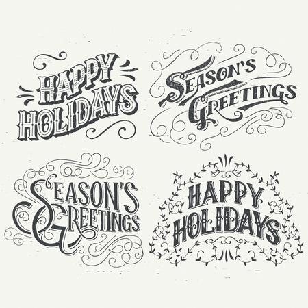 feriado: Felices vacaciones. Dibujado a mano titulares tipografía establecidos para tarjetas de felicitación en el estilo vintage