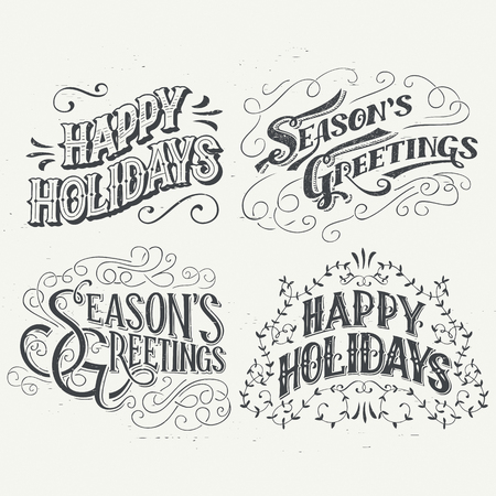 greetings from: Happy Holidays. Hand drawn typography headlines set for greeting cards in vintage style