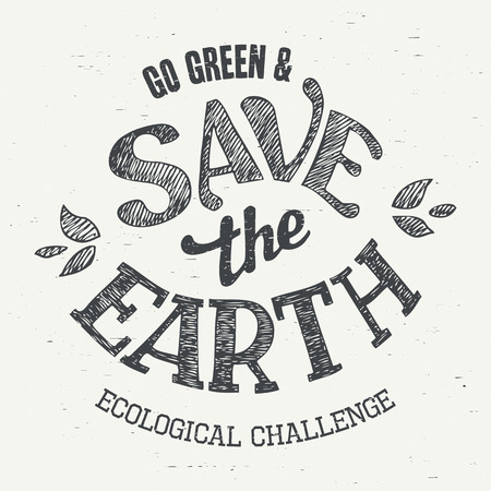 apparel: Save the Earth. Typographic design eco label for t-shirts and apparel