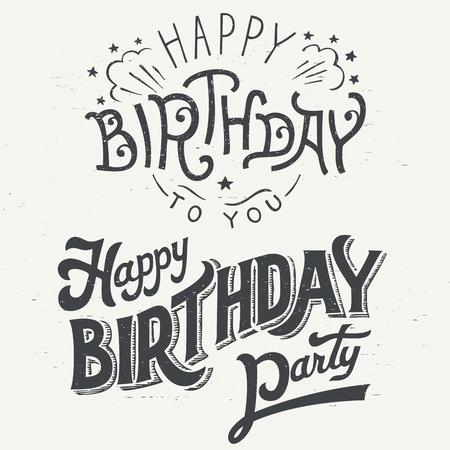 felicitaciones cumpleaÑos: Feliz Cumpleaños mano dibujada conjunto diseño tipográfico para tarjetas de felicitación en el estilo vintage Vectores