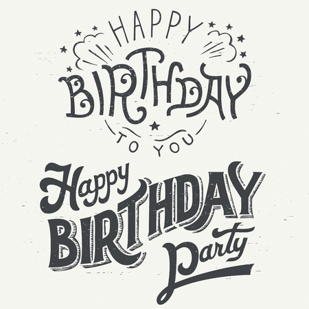 happy birthday text: Happy Birthday hand drawn typographic design set for greeting cards in vintage style