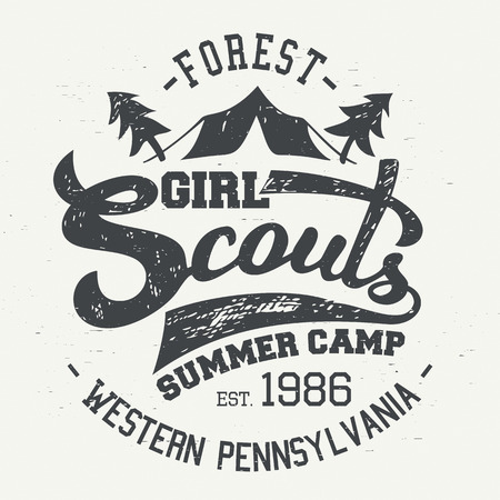 Girl Scouts summer camp. Typographic design for t-shirt and labels in vintage style