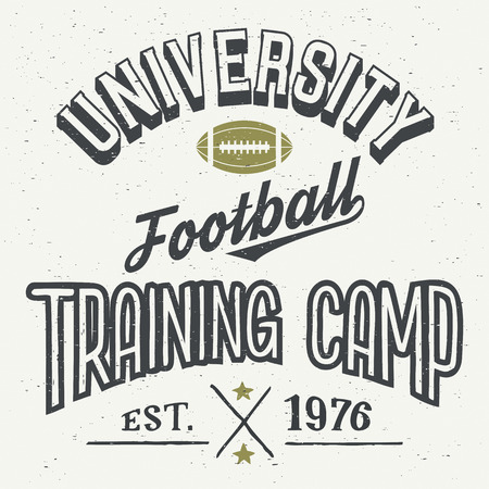 University football training camp. T-shirt typographic design in vintage style Illustration