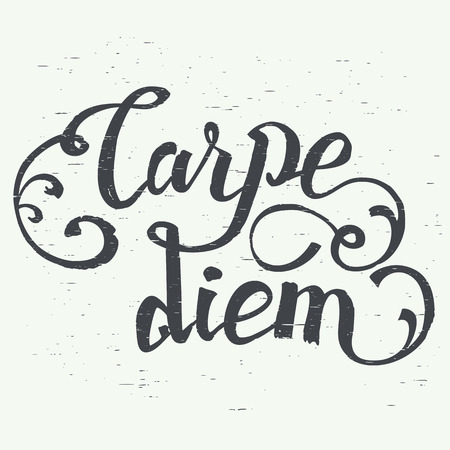 seize: Carpe diem. In latin means Catch the moment. Hand-lettering using a brush inspirational quote