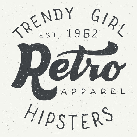 label tag: Retro apparel label. Hand drawn typography design for hipsters apparel and t-shirts in vintage style