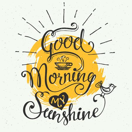 Bom Dia meu raio de sol. Design tipográfico desenhado à mão, poster caligráfico Ilustração
