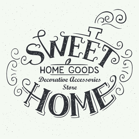 homely: Sweet home. Home goods store, hand-drawn typography label, logo design