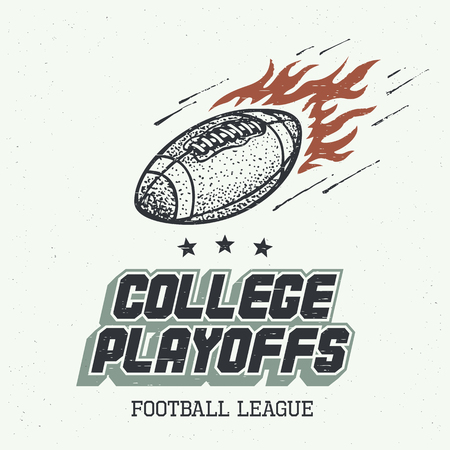 playoffs: College playoffs. American football or rugby ball hand-drawn illustration in vintage style