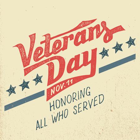 dia: Tarjeta de felicitación de los Veteranos días con diseño tipográfico dibujado a mano de estilo vintage