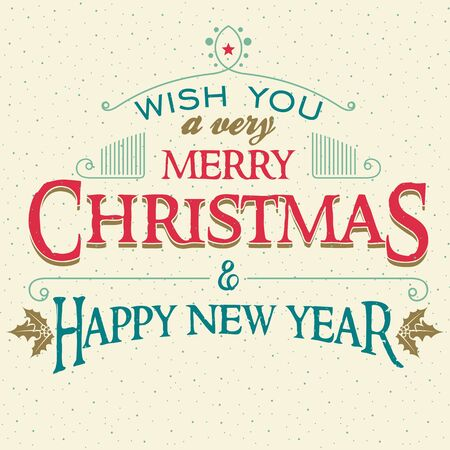 Wish You A Very Merry Christmas And Happy New Year. Typographic ...
