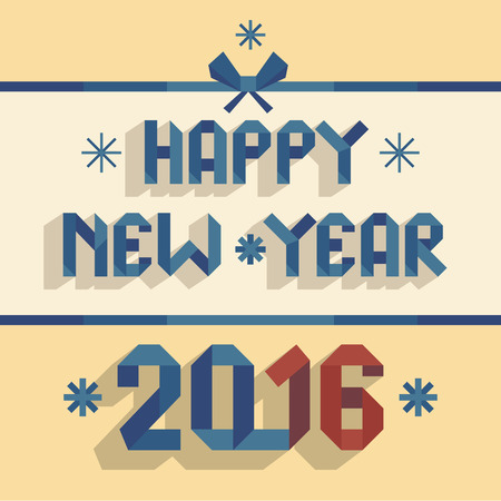 Happy New Year 2016. Flat illustration with the font in a blue ribbon form