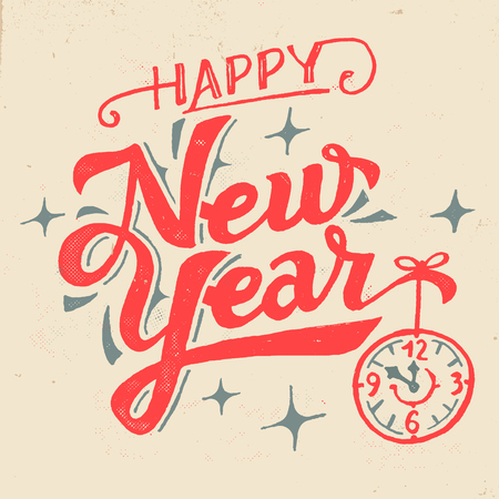 Happy New Year. Hand lettered greeting card in vintage style