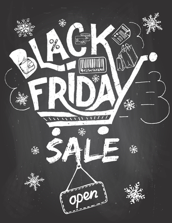 blackboard: Black friday sale advertising poster. Hand lettering on blackboard background with chalk in vintage style