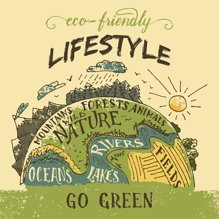 ECO: Eco friendly lifestyle concept. Go green eco poster. The planet Earth hand-drawn vintage illustration