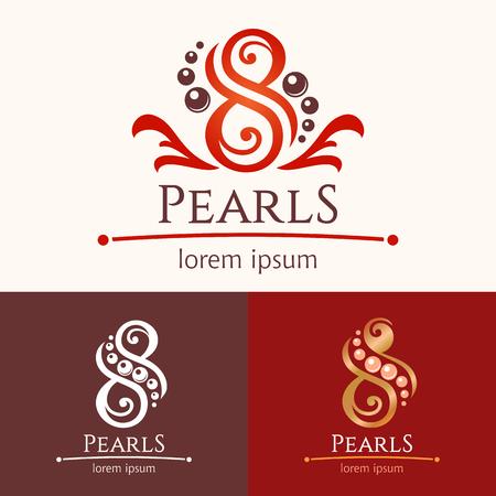 8 真珠。アイコン テンプレート デザイン セット、美容サービス エンブレム。スパまたは feng shui のスタジオ