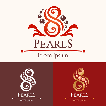 pearls: Eight pearls. Icon template design set, beauty services emblem. Spa or feng shui studio
