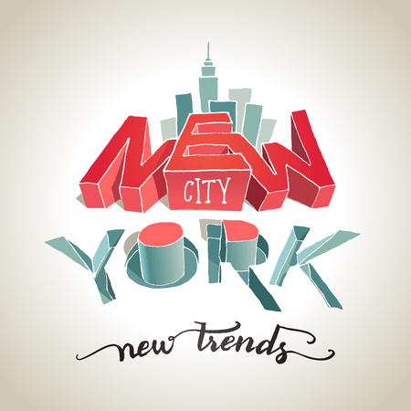 New York city. 3d typography. The illusion of three-dimensional letters, new trend. Hand-drawn illustration
