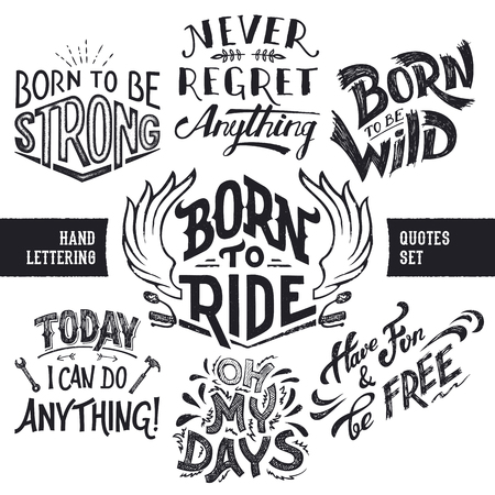 Hand lettering trendy motivational and funny quotes set isolated on white background