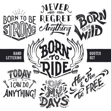 Hand Schriftzug trendy motivationalen und lustige Zitate Set isoliert auf weißem Hintergrund Standard-Bild - 48211503