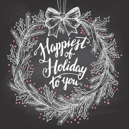 marcos redondos: M�s Feliz de vacaciones para usted. Cita de la caligraf�a con la guirnalda de la Navidad en la pizarra con tiza