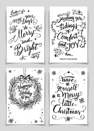 happy holidays: Greeting cards bundle in black isolated on white background. A unique set of calligraphic greeting cards and flyers for printing and design Illustration