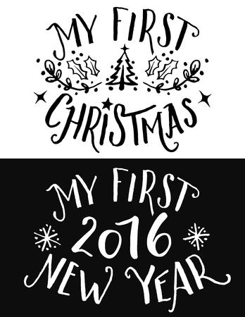 Mijn eerste Kerstmis en Nieuwjaar belettering. Handgetekende typografie set voor druk op kinderkleding en cadeautjes voor de kinderen op de eerste vakantie in hun leven