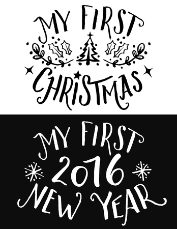 first day: My first Christmas and New Year lettering. Hand-drawn typography set for print on childrens clothing and gifts for kids on first holiday in their life