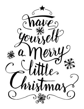 PEQUEÑO: Ten una feliz pequeña Navidad. Caligrafía cita escrita a mano aislado sobre fondo blanco para tarjetas de felicitación, grabados y carteles