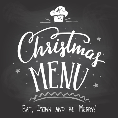 Christmas menu. Hand-lettering and calligraphy cover design on chalkboard background with chalk