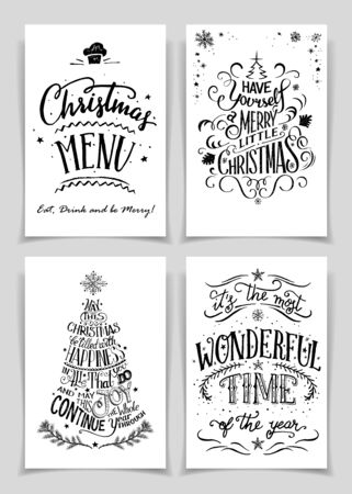 unique: Christmas greeting cards bundle in black isolated on white background. A unique set of hand lettered holiday cards or posters for printing and design