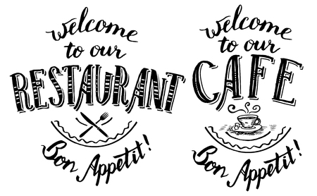 printables: Welcome to our restaurant and cafe. Set of hand-lettering and calligraphy designs for cards, menu, posters and other printables Illustration