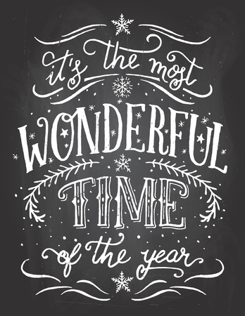 It's the most wonderful time of the year. Christmas and new year chalkboard printable Stock Vector - 49209554