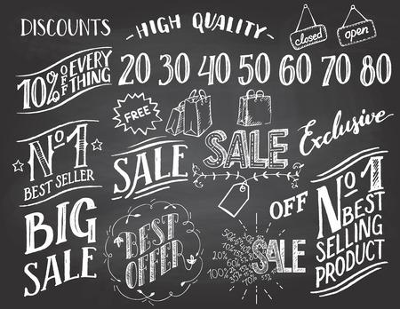 bundle of letters: Sale hand-lettering and hand-drawn design elements set on blackboard background with chalk Illustration