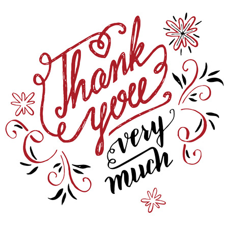 very: Thank you very much. Holiday calligraphy for greeting cards isolated on white background Illustration