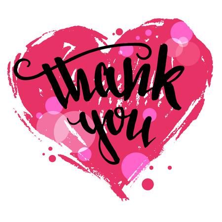 Dank je. Valentijnsdag wenskaart. Borstel pen kalligrafie met tekening hart op een witte achtergrond