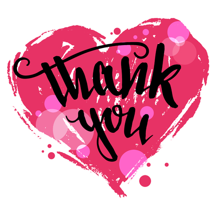scripts: Thank you. Valentines day greeting card. Brush pen calligraphy with drawing heart isolated on white background