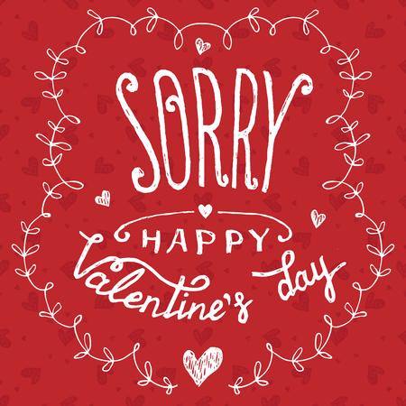 Frohen Valentinstag. Urlaubskarte Auf Gezeichnete Herzen Nahtlose Muster  Hintergrund