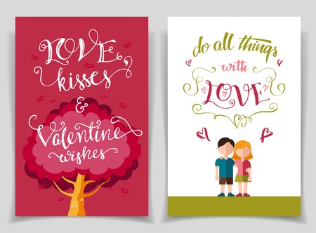Valentines day greeting cards set with brush calligraphy and flat design Illustration