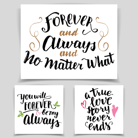 forever: Brush calligraphy love cards set. Handwritten text isolated on white background for Valentines day cards, wedding cards, t-shirts or posters Illustration