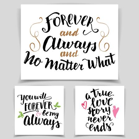 Pinsel Kalligraphie Liebe Karten gesetzt. Handwritten Text auf weißem Hintergrund für Valentinstag-Karten, Hochzeitskarten, T-Shirts oder Poster