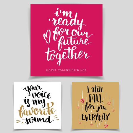 Brush calligraphy love cards set. Handwritten text isolated on white background for happy Valentines day cards, wedding cards, t-shirts or posters