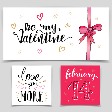 14 february: Brush calligraphy love cards set. Handwritten lettering isolated on white background for happy Valentines day cards, wedding cards, t-shirts or posters
