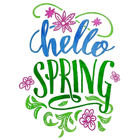 Hello spring. Watercolor hand lettering isolated on white background