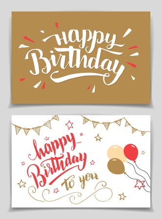 Happy Birthday greeting cards set. Brush calligraphy Stock Vector - 51544024