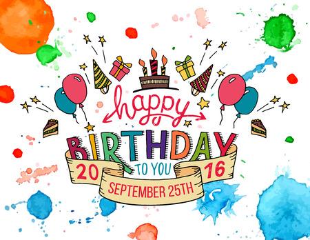 Feliz cumpleaños a ti. dibujado a mano la tipografía colorida titular para tarjetas de felicitación en el fondo de la acuarela salpica aislado en blanco