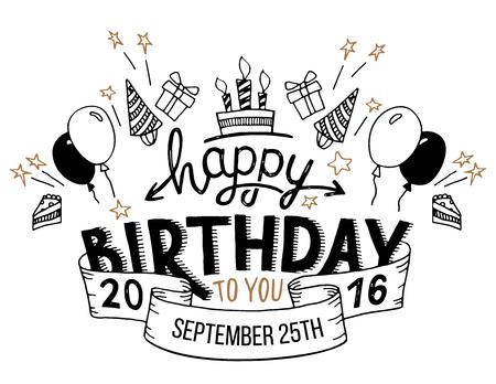 urodziny: Wszystkiego najlepszego z okazji urodzin. Ręcznie rysowane typografii nagłówek dla kart okolicznościowych w stylu vintage na białym tle
