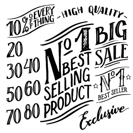 bundle: Hand lettered design elements set. Advertising labels, discounts with a number set isolated on white background Illustration